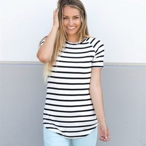 Short sleeved striped tunic